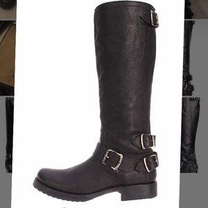 Frye Veronica Back-Zip Buckle Boots